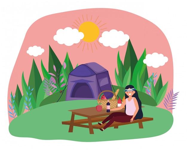 Desenhos animados de barraca e mulher