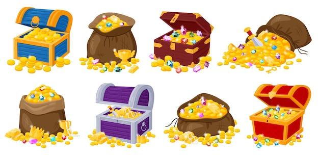 Desenhos animados de baús de madeira de pirata, bolsas de tecido com tesouros de ouro e pedras preciosas. tesouro de pirata de ouro, baú cheio de moedas de ouro conjunto de ilustração vetorial. tesouros de ouro