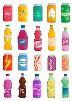 Desenhos animados de bebida refrigerante isolado ícone definido. desenhos animados definir bebida de garrafa de ícone. ilustração refrigerante bebida no fundo branco.