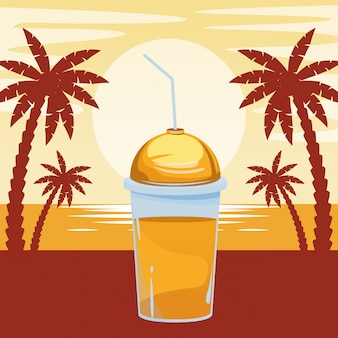 Desenhos animados de bebida tropical smoothie de frutas