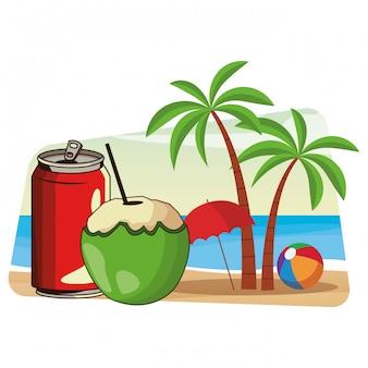 Desenhos animados de bebidas refrescantes