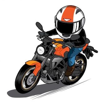 Desenhos animados de bicicleta nua de passeio de homem ilustração de motocicleta de velocidade