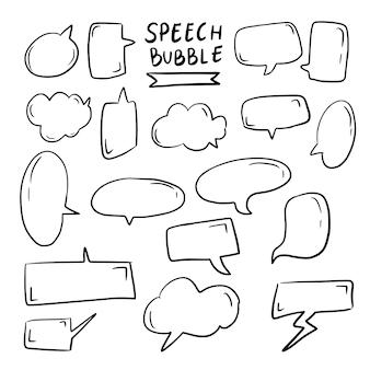 Desenhos animados de bolha do discurso doodle desenho