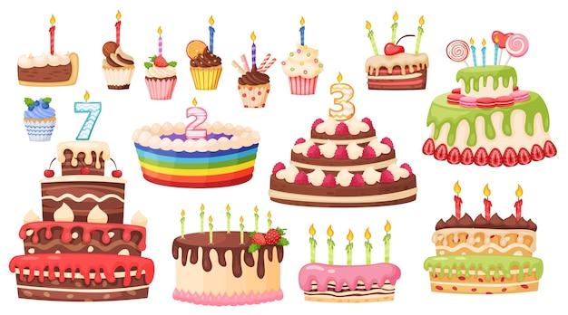 Desenhos animados de bolos e cupcakes com velas deliciosas sobremesas doces conjunto de vetores de celebração de aniversário