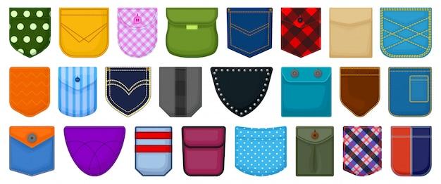 Desenhos animados de bolso definir ícone. bolsa de tecido ilustração em fundo branco. desenhos animados definir ícone bolso.