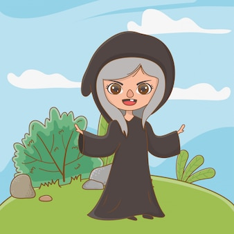 Desenhos animados de bruxa medieval de conto de fadas