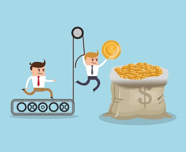Desenhos animados de businnesman e item financeiro