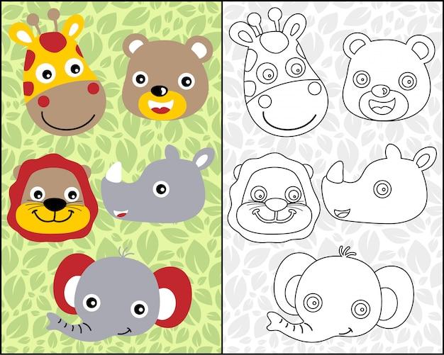 Desenhos animados de cabeça de animais agradável no livro para colorir