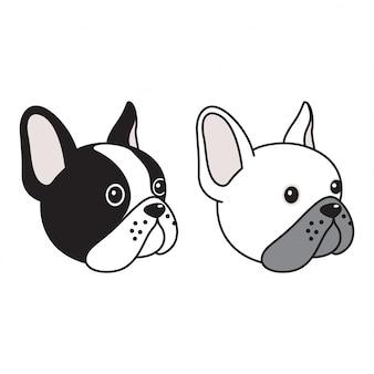 Desenhos animados de cabeça de buldogue francês de vetor de cão