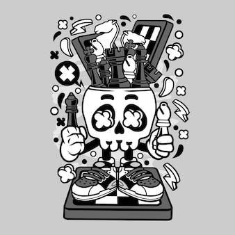 Desenhos animados de cabeça de caveira de xadrez