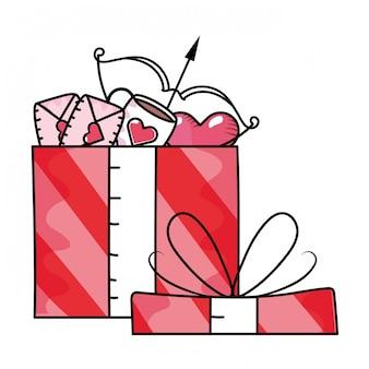 Desenhos animados de caixa de presente de dia dos namorados