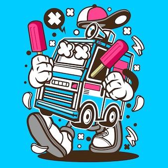 Desenhos animados de caminhão de sorvete