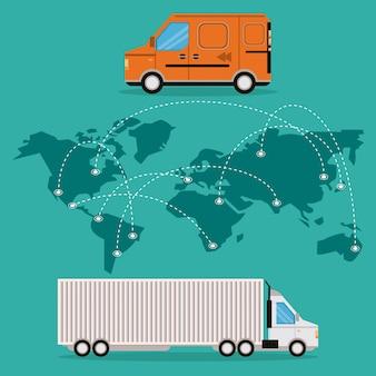Desenhos animados de carga logística de mercadoria de transporte