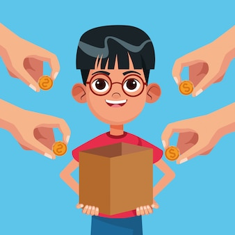 Desenhos animados de caridade de doação de criança