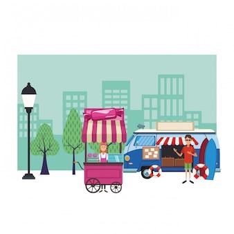 Desenhos animados de carrinho de algodão doce