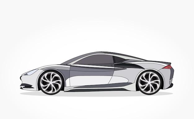 Desenhos animados de carro de esportes de prata com efeito lado e sombra detalhado