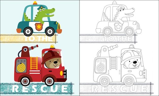 Desenhos animados de carros de equipe de resgate com motorista engraçado