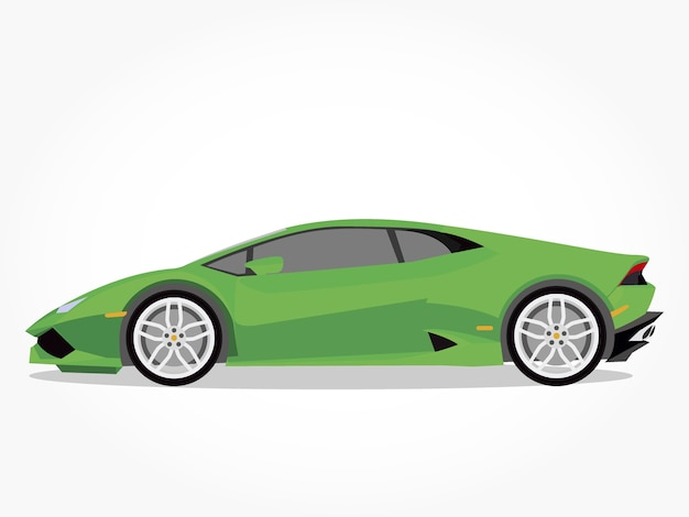 Desenhos animados de carros esportivos verdes com efeito lado e sombra detalhado