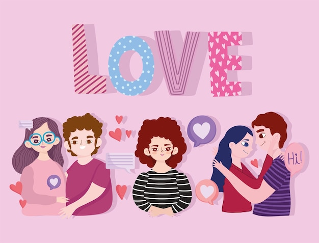 Desenhos animados de casais com texto de amor e corações românticos