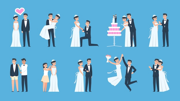 Desenhos animados de casal de noivos em diferentes cenas, preparando e celebrando
