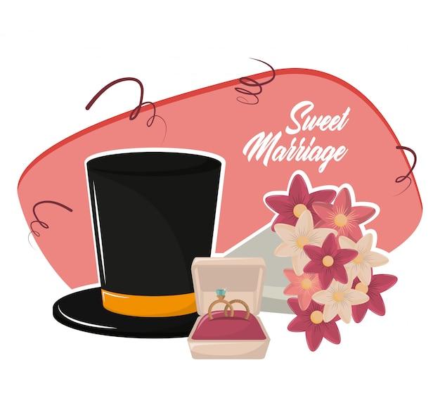 Desenhos animados de casamento doce