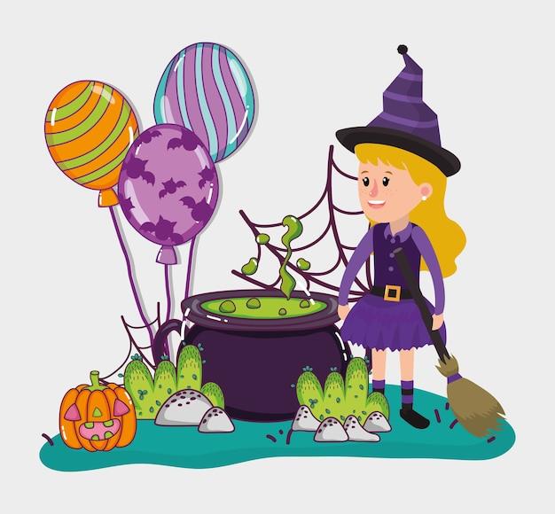 Desenhos animados de celebração de crianças de halloween