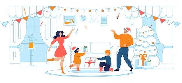 Desenhos animados de celebração de família de natal e ano novo