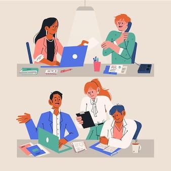 Desenhos animados de cenas do dia de trabalho com pessoas