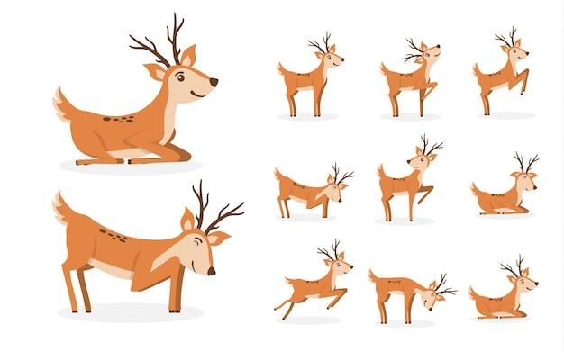 Desenhos animados de cervos fofos personagens para crianças desenho animal desenho em pé, pulando e pastando Vetor Premium