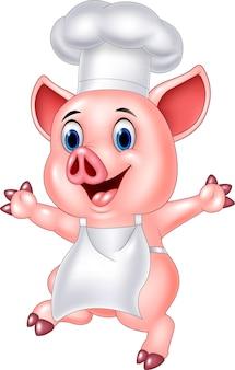 Desenhos animados de chef de porco