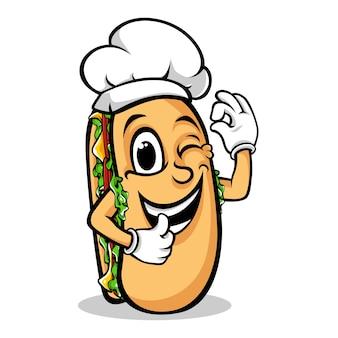 Desenhos animados de chef sanduíche