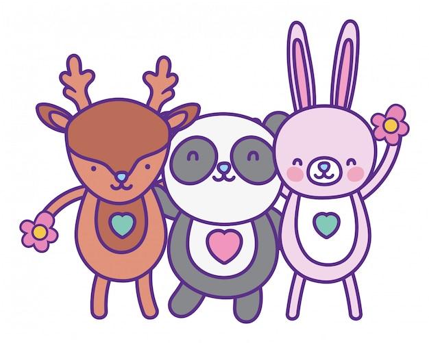 Desenhos animados de coelho e panda de rena