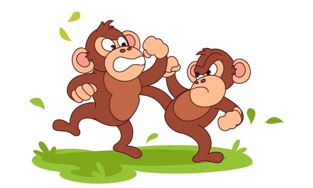 Desenhos animados de combate do chimpanzé