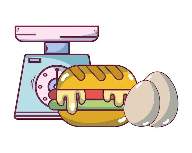 Desenhos animados de comida de café da manhã