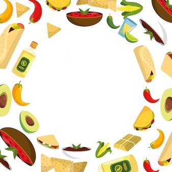 Desenhos animados de comida mexicana deliciosa