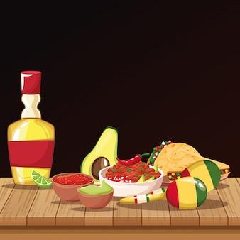 Desenhos animados de comida mexicana