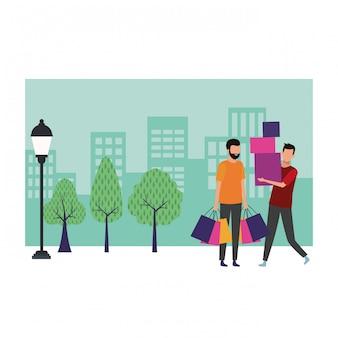 Desenhos animados de compras de pessoas
