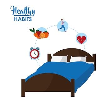 Desenhos animados de conceito de hábitos saudáveis