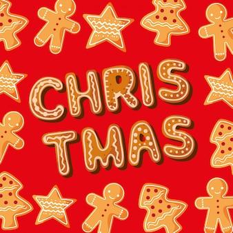 Desenhos animados de cookies de cartas de natal