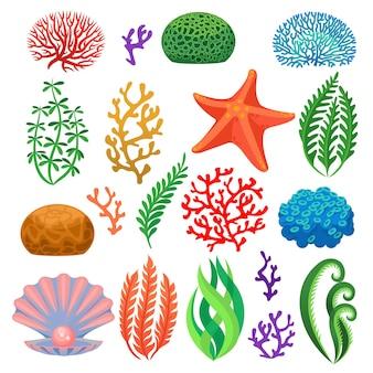 Desenhos animados de corais de recife subaquáticos coloridos, plantas