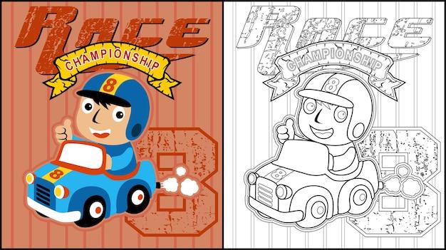 Desenhos animados de corrida de carro engraçado