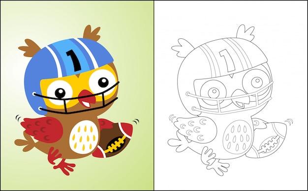 Desenhos animados de coruja o jogador de rugby engraçado