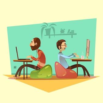 Desenhos animados de coworking conjunto com computadores café e assentos na ilustração vetorial de fundo amarelo