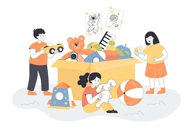 Desenhos animados de crianças brincando com brinquedos de uma caixa enorme