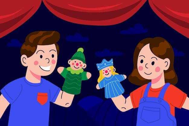 Desenhos animados de crianças brincando com fantoches ilustrados