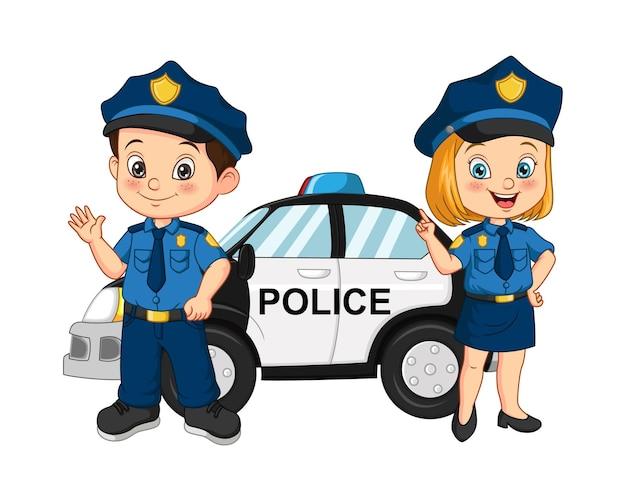Desenhos animados de crianças da polícia em pé perto do carro da polícia