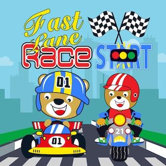Desenhos animados de crianças de carro de corrida