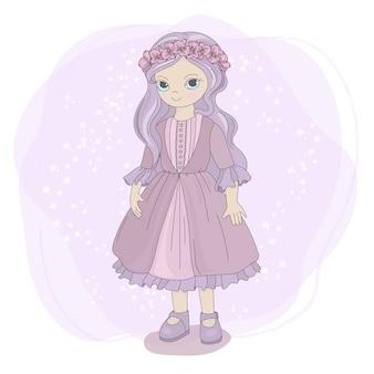 Desenhos animados de crianças de conto de fadas garota primavera