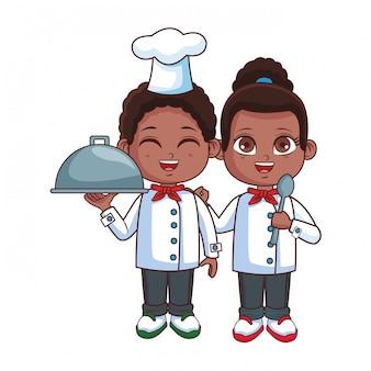 Desenhos animados de crianças de cozinheiros