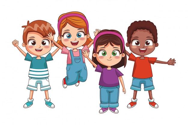 Desenhos animados de crianças felizes